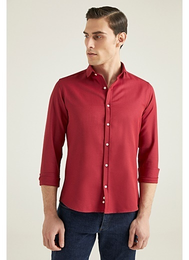 TWN Slim Fit Oxford Gömlek Bordo